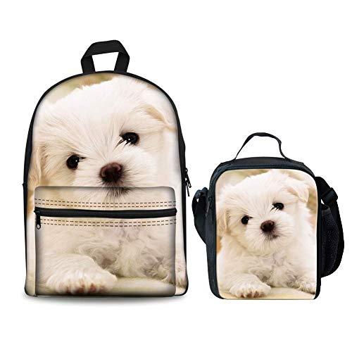 Cute Puppy Printed Kinder Schulrucksack Set Mädchen Bookbags und Lunchbox Bichon Frise (Color : -, Size : -) -