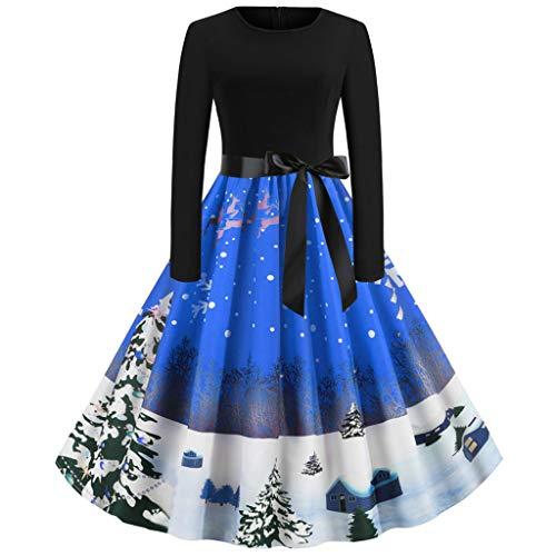 Zottom Frauen Langarm Plissee Abendkleid 1955er Jahre Vintage Cocktailkleid Schönes Weihnachtskleid(Blau,Large)