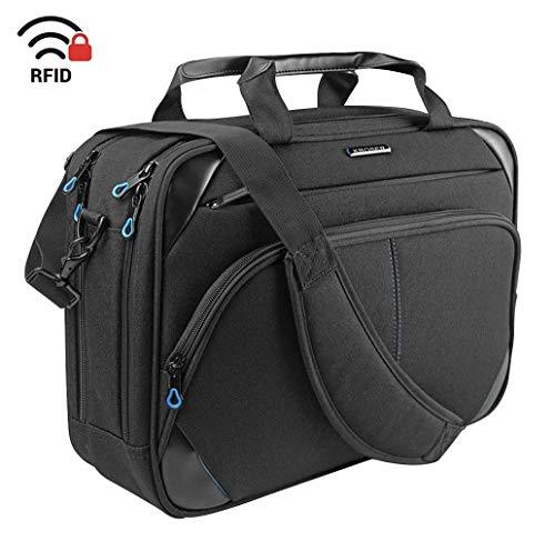KROSER Laptop Tasche 15,6 Zoll Business Tasche Laptop Umhängetasche Wasserabweisend Schultertasche Durable Tablet Hülle mit RFID Taschen für College/Herren/Frauen/Männer/Damen-Schwarz/Blau MEHRWEG -