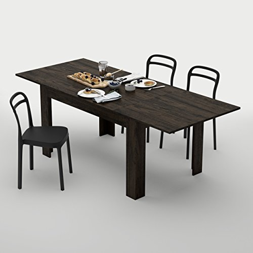Mobilifiver Table extensible Cuisine, Easy, Chêne brown, 140 x 90 x 77 cm, Mélaminé, Made in Italy