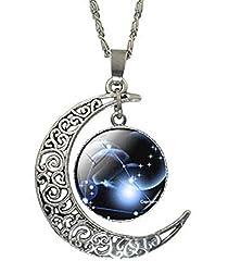 Idea Regalo - Lovelegis Collana da Donna e Uomo - Zodiaco Capricorno - Segno Zodiacale - Costellazione - Oroscopo - Astrologia - Colore Argento
