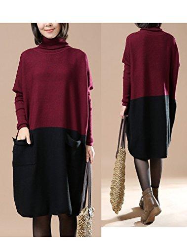 Vogstyle Damen Frühling/Herbst Neuer Kleid Pullover Art 3 Burgund