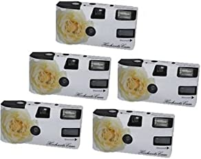 """Hochzeitskamera """"Weiße Rose"""" - 5er Pack Einwegkamera mit Blitz (27 Aufn. 400 ASA)"""