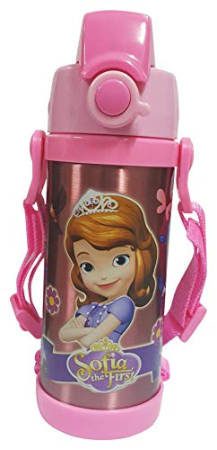 ONOTIC Trendy Latest Stainless Steel Thermo Insulated Water Bottle 350ML with Straw & Strap for Kids - Pink
