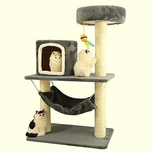 Panel-wolle (Hexiansheng Kletternder Baum der Katze Große Katze Spielzeug warmen kleinen Nest Plüsch Hängematte 65 * 45 * 100 cm Holz-basierte Panel + Sisal + wolle Velvet)