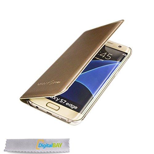 Custodia cover flip case gold per samsung galaxy s7 edge + pellicola protettiva + pannetto pulisci schermo firmato ®digitalbay