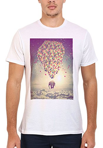 Balloon Elephant Sky Animal Funny White Weiß Men Women Damen Herren Unisex Top T-shirt Weiß