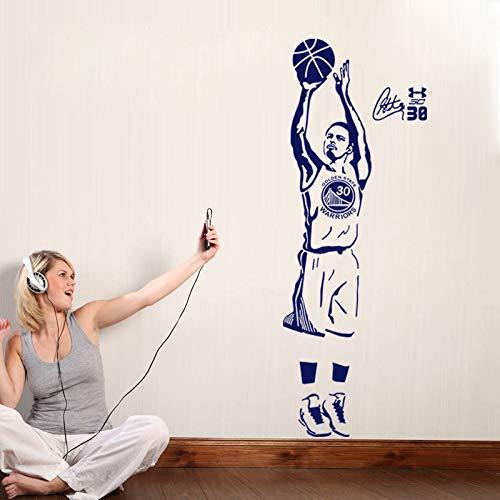 Wandaufkleber, Art Home Aufkleber Room Decor Schlafzimmer Sport Basketball Spieler Decals Curry Für Jungen Und Schule Einfache Paste Mit Abnehmbaren 44x120 cm