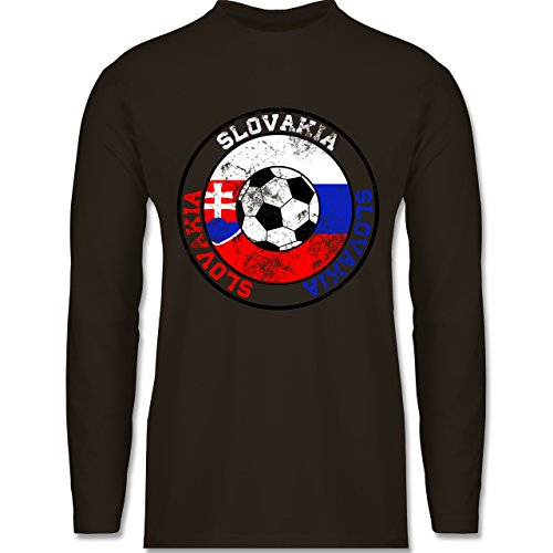 Shirtracer Fußball - Slovakia Kreis & Fußball Vintage - Herren Langarmshirt Braun
