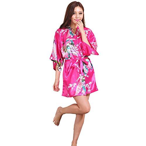Yidarton Sexy Donna Pigiama Kimono Vestaglie Stile Breve Peacock Printing Kimono Bathrobe rose rosse