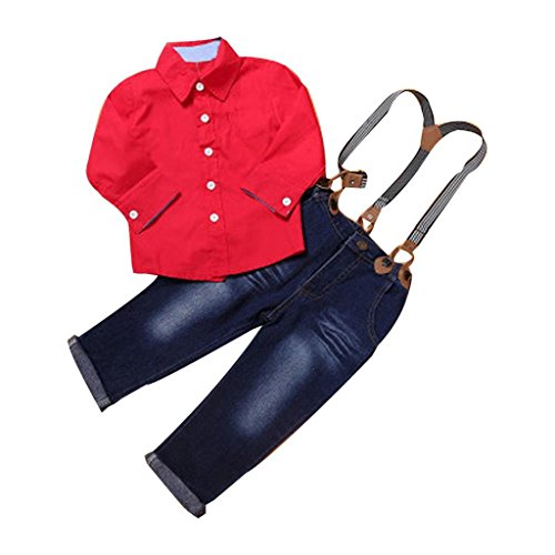 Bestop For 1-7 Years Old, 1Set Kids Baby Boys Handsome Red Shirt+Braces Jeans Trousers Clothes Outfits (4Y, Red)