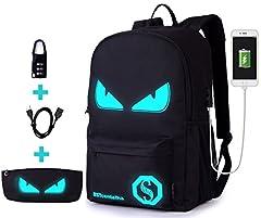 Idea Regalo - BSTcentelha Anime Borsa a tracolla luminosa leggera con scomparti per laptop per studenti Ragazzi Boy Girl Book Laptop Travel Camping (Grande)