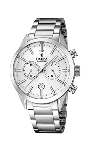 Festina Men's Quartz Watch with White Dial Chronograph Display and Silver Stainless Steel Bracelet F16826/1