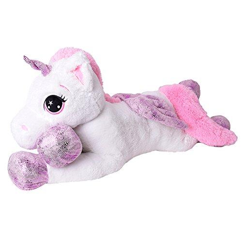 TE-Trend XXL Plüschtier Pferd Einhorn Unicorn Kuscheltier liegend 130 cm lila Glitzerhorn große Augen weiß