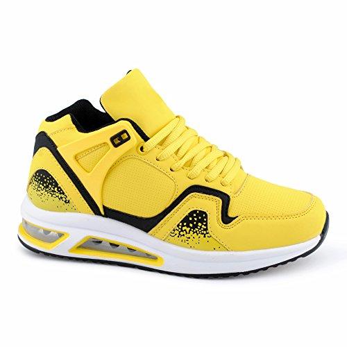 Herren Damen Sportschuhe High Top Sneaker Mehrfarbig Basketball Freizeit Unisex Schuhe Gelb/Schwarz-W