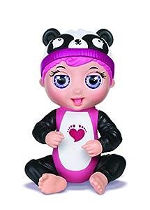Bandai - Tiny Toes - Minimuñeca interactiva 14 cm - Gabby plappert - Panda Blanco y Negro - Habla alemán - 82787