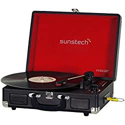 Sunstech PXR6SBTBK - Giradiscos portátil (Bluetooth, USB, MP3)