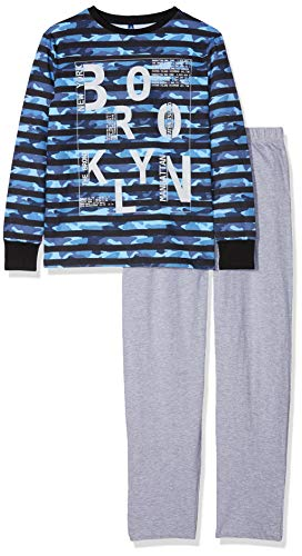 Lenny Sky Jungen EG.CAMO.PY2 Zweiteiliger Schlafanzug, Bleu, 16 Jahre (Camo Schlafanzug Jungen)