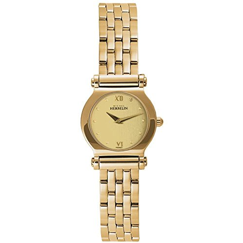 MICHEL HERBELIN WOMEN'S GOLD PLATED BRACELET & CASE QUARTZ WATCH 17055/BP13