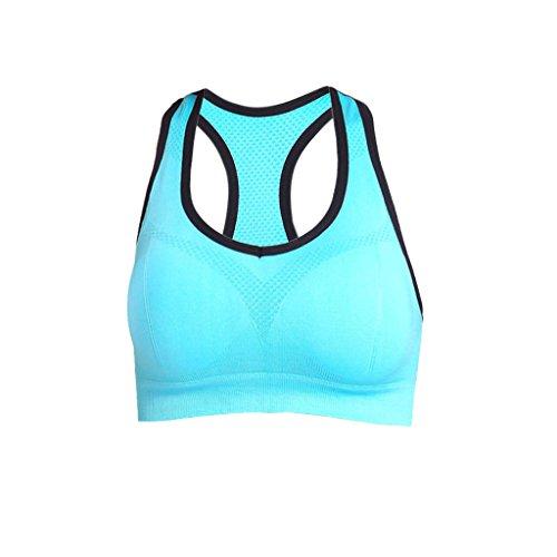 Soutien-gorge Femmes Tops Vêtements de Sport Yoga U Cou Push Up Bleu