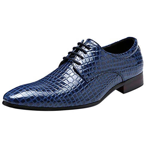 FNKDOR Schuhe Herren spitz Geschäft Schlange Lederschuhe Formelle Kleidung Berufsschuhe Freizeit Schnürsenkel Business-Schuhe Blau 44 EU (Camper-tennis-schuhe)