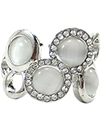 Luxaim Stylish Latest New Trendy Fashionable Pearl And Crystal Stone Design Adjustable Finger Ring Designer For...