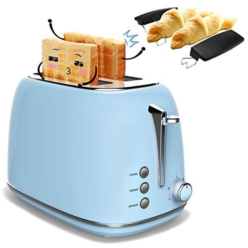 Morpilot Grille Pain Toaster Inox Baguette Automatique Toaster 2 Tranches Extra Large Fentes - 6 Niveaux Ajustable - avec Plateau de Miettes Acier