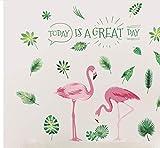 Hojas verdes Pegatinas de Pared Habitación de los niños Dormitorio Infantil Flamingo Tatuajes de Pared Extraíble Vinilo Murales de Arte Diy Wallpaper Home Decor