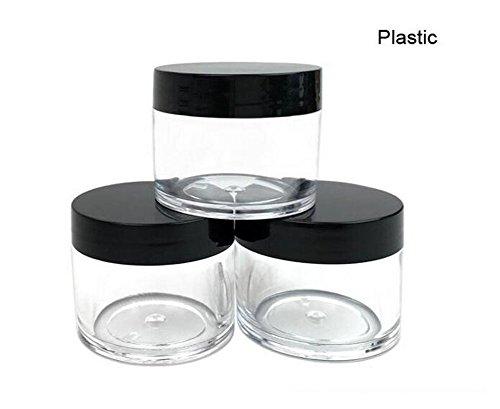30 g 30 ml / 1 oz Capuchon en plastique noir et blanc rechargeable avec couvercle à base transparente Carottes en plastique vides en plastique pour bouteilles à poudre à ongles Conteneur à ombre Protège-bouteille en poudre (paquet de 10) (Couvercle noir)