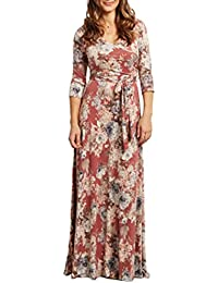 Smalltile Verano Mujer Dress con Cinturón Hermoso Bohemo Impresión Pliegue Maxi Vestido de Playa Cuello V