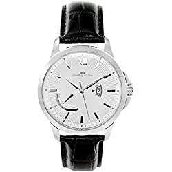wrist watch for men Lindberg & Sons quartz movement - analog display black leather bracelet and white dial LS15H1
