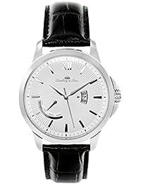 Lindberg & Sons LS15H1 - Reloj pulsera analógico de cuarzo para hombre, correa de cuero negra