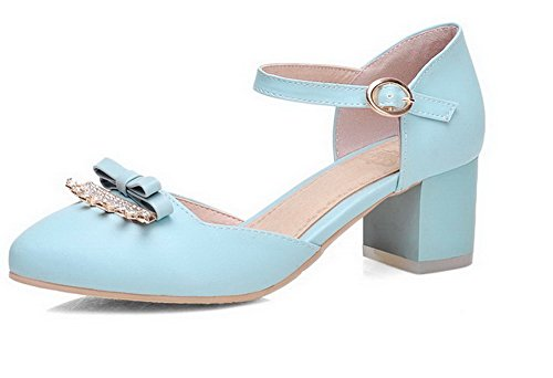 VogueZone009 Femme à Talon Correct Couleur Unie Matière Mélangee Rond Chaussures Légeres Bleu