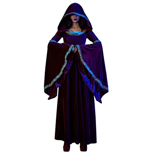 Mittelalter Kleider Damen Langarm Kleid mit Kapuze Renaissance Kostüm Kleidung Piebo Lang Dress Pirat Hexe Zombie Ghost Halloween Weihnachten Cosplay Hoodie Oktoberfest Festliche Karneval Partykleid