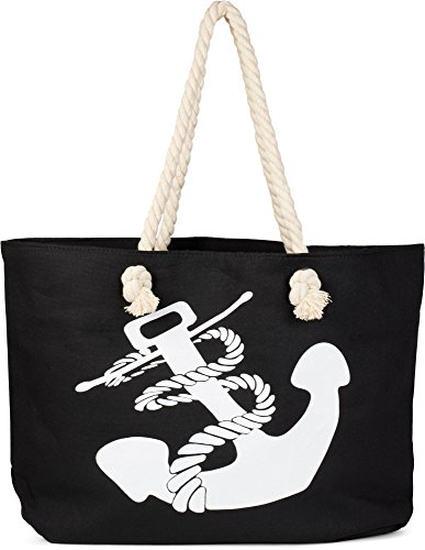 styleBREAKER Strandtasche in Flecht Optik mit Anker Print, Shopper, Badetasche, Damen 02012077, Farbe:Schwarz-Weiß (Schwarz Tote Bag Kompass)