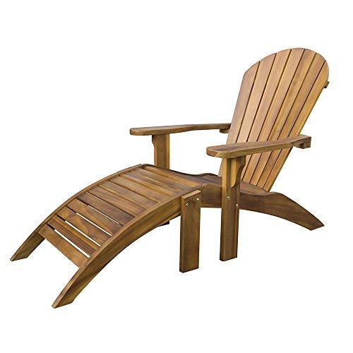 Chaise de Jardin Adirondack avec Repose-Pieds - Fauteuil en Teck Massif Résistant aux Intempéries avec Repose-Pieds Détachable - Mobilier de Jardin, Patio et Terrasse aux Tons Dorés Étourdissants