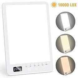 Tageslichtlampe 10000 Lux, Mibote LED Lichttherapielampe mit 60 Min Timer, UV-freie Tageslichtleucht mit dimmberen Helligkeitsstufen