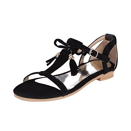 Femme Sandales Plate Suedine Frange Fermeture Boucle Noir