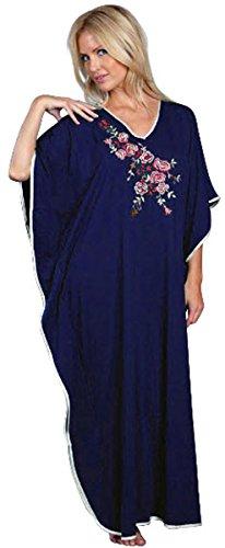 Damen Kaftan, lang, bestickt, Einheitsgröße, One Size, Blumenmuster, Weinrot, navy & Schwarz Blau - Marineblau