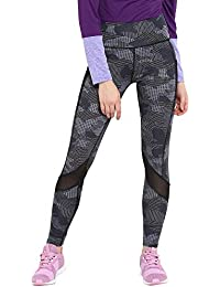 CHKOKKO Women's Mesh Yoga Gym and Active Sports Fitness High Waist Tights Leggings (SPWTS6517GREYL/XL, Grey, Large)