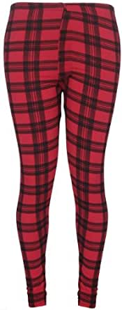 Womens New Tartan Check Printed Ladies Stretch Elasticated Waistband Long Fit Pants Leggings Plus Size Size 12 - 14