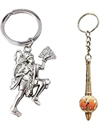 Hanuman Metal Keychain Silver & Gada Plastic Keychain