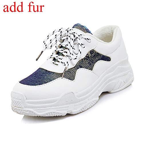HOESCZS 2018 Plus Size 29-46 Schwarz Weiß Lace Up Woman Vulcanize Schuhe Plattform Großhandel Schuhe Frau Sneakers Schuhe,schwarz mit Pelz,37 -
