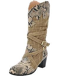 a0ec492be1a3 Kittcatt Femme Botte Cowboy Boots Cowgirl Bottines Westerne Mi-Talon Bloc  Chunky Heels avec Boucle Hiver…