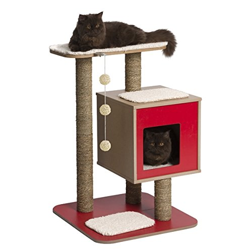 Arbre à chat-arbre à chat avec grottes cubique et d'une plate-forme en noir, rouge et marron 117 cm rouge