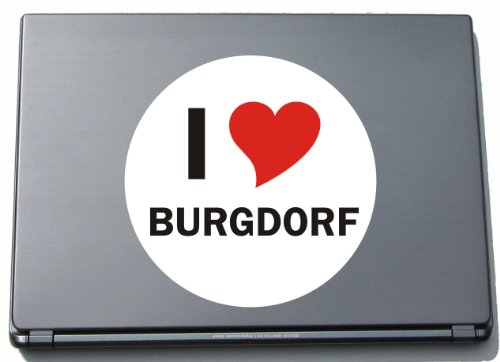 I Love Aufkleber Decal Sticker Laptopaufkleber Laptopskin 297 mm mit Stadtname BURGDORF