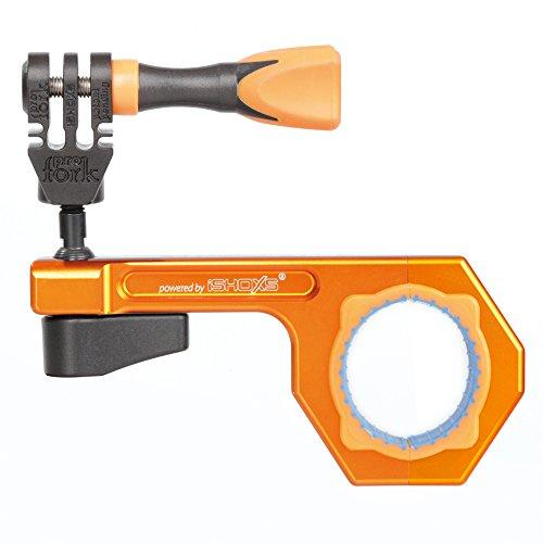 iSHOXS BullBar 3D (30-34 mm), GoPro Mount ; élément de base et système à boule 3D en aluminium 6061 ultrarésistante, préhension très solide grâce à l'insert bimatière - orange