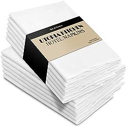 Utopia Kitchen - Serviettes de Table en Coton - Paquet de 12 (46 x 46 cm, Blanc)