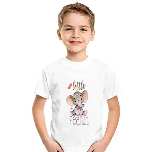 wuayi  Baby Kurzarm T-Shirt, Kinder Baby Mädchen Jungen Cartoon Elefant Brief Drucken Tee Shirt Hemd Tops Kleidung Outfit 1-5 Jahre -