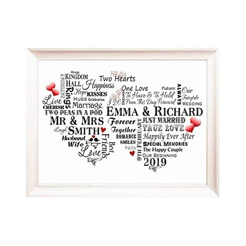 wedding gift personalised with names  word art gift for
